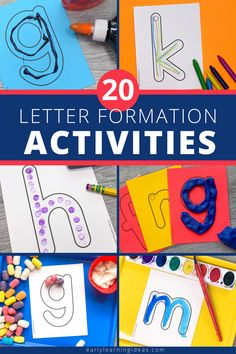 Teach kids correct letter formation with these fun, hands-on activities. Better than a worksheet, use these printable letter cards for engaging alphabet activities. Teach your preschool and pre-k kids how to build uppercase and lowercase letters with proper formation (includes a dot as a visual cue fo the starting point). Find 20 different ideas to use these little letter sheets to teach the basic skills that will help your kids with handwriting letters. Name Activities Preschool, Phonemic Awareness Activities, Numbers Preschool, Alphabet Activities, Language Activities, Hands On Activities, Literacy Activities, Rainbow Writing, Visual Cue