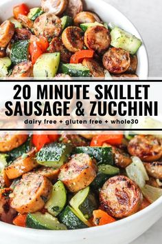 20 minutes · Gluten free Paleo · Serves 4 · Throw together this quick skillet dinner when you need a healthy and satisfying meal in a hurry! You'll love this perfectly seasoned mix of sausage, zucchini, peppers, and onions. compliant… More dinner recipes Health Dinner, Keto Dinner, Healthy Dinner Meals, Quick Easy Healthy Dinner, Easy Dinner For Two, Easy Paleo Dinner Recipes, Eat Clean Dinners, Dairy Free Recipes, Dessert Recipes