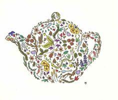the tea is in the garden original illustration