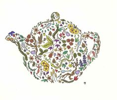 the tea is in the garden original illustration