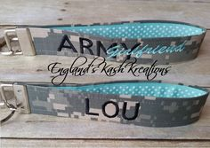 Military name tape keychain. See this and many other samples in our Etsy shop.**Items ship within 2 business days of ordering.** Enter coupon code: PIN10 at checkout to receive 10% of your entire purchase. Follow us on Twitter at: twitter.com @englandskk