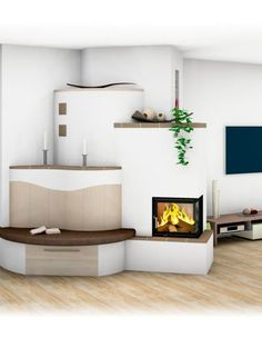 Modern and traditional tiled stove – Sigmund Herd, Bungalow, Stove, Tiles, Traditional, Modern Ovens, Room, Fireplace Ideas, Home Decor