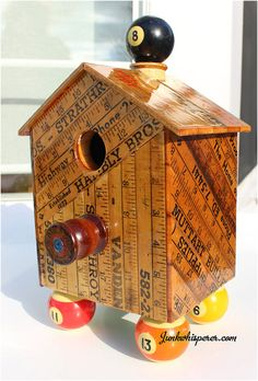 Yardstick Birdhouse Vintage Yardsticks Bird by JunkWhisperers