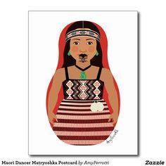 Shop Maori Dancer Matryoshka Postcard created by AmyPerrotti. Impression Etiquette, Polynesian Girls, International Craft, Maori People, Art Carte, Nz Art, Maori Art, Kiwiana, Matryoshka Doll