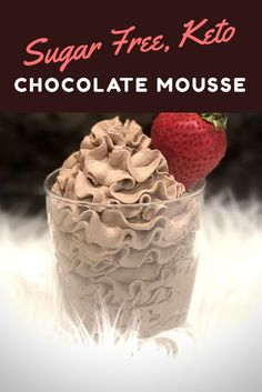 This Keto Chocolate Mousse is a great dessert while on a diet. With its light texture and intense chocolate flavor, this is a totally crave-worthy dessert. Low Carb Cupcakes, Sugar Free Deserts, Sugar Free Recipes, Sugar Free Foods, Sugar Free Jello Keto, Sugar Free Drinks, Sugar Free Snacks, Sugar Free Baking, Flour Recipes