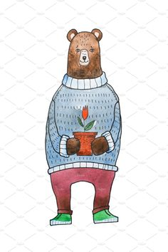 Watercolor illustration for children of cartoon brown bear wearing warm sweater holding a flowerpot with a flower by undrey on @creativemarket