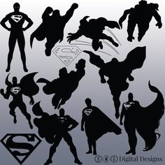 12 Superman Silhouette Clipart Images Clipart by OMGDIGITALDESIGNS