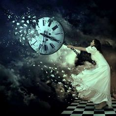 beautiful woman trying to stop time/clock/chess board/fantasy