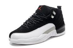 Men Air Jordan 12 Retro Shoes 39 Black White Grey