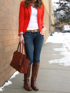 that bright blazer ~ Lilly Style Red Blazer Outfit, Blazer Outfits Casual, Fall Blazer, Blazer Jeans, Orange Blazer, Orange Jacket, Green Blazer, Red And White Outfits, Red Outfits