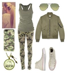 """Simple Camo."" by internationalmusiclover on Polyvore featuring Black Orchid, Lola, Converse, Ray-Ban, Yves Saint Laurent and Entree"