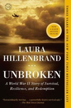 Unbroken by Laura Hillenbrand - In 1943, an Army Air Forces bomber crashed into the Pacific and disappeared, leaving only a spray of debris and a slick of oil, gasoline, and blood. Then, on the ocean surface, a face appeared. It was that of a young lieutenant, the plane's bombardier, who was struggling to a life raft. So began one of the most extraordinary odysseys of the Second World War. Buy the book at http://www.biggerbooks.com/unbroken-world-war-ii-story-survival/bk/9780812974492