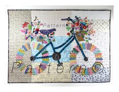 Whimsical Bicycle - Art Quilt PATTERN - Original Design Wall Art - Cycle Art - Modern Floral Bike - Sally Manke, Fiber Artist by SallyManke on Etsy