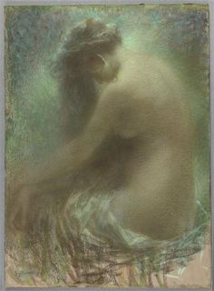 Nude pastel by Levy-Dhurmer Lucien Impressionist Paintings, Impressionism, Pierre Loti, Art Nouveau, Victorian Life, Fauvism, Statue, Abstract, Artwork