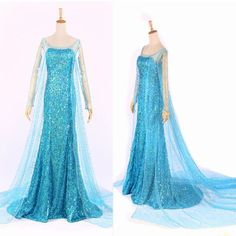 Elsa Queen Princess Adult Women Cocktail Party Dress Costume Elsa Dresses Alternative Measures - Brides & Bridesmaids - Wedding, Bridal, Prom, Formal Gown