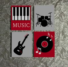 """Set of Four 8"""" x 10"""" Acrylic Paintings. (Not a print.) Cute Music Themed paintings with a Drum Set Silhouette, a record and notes, a Guitar and piano keys. Great gift for anyone into music and bands!"""