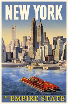 Add retro wall decor with a New York City Travel Poster for home or business. All New York City Empire State Posters are tabbed on the back and ready to hang. New York Poster, Retro Poster, Poster S, Vintage New York, Vintage Travel Posters, Vintage Postcards, Vintage Advertisements, Vintage Ads, Vintage Stuff