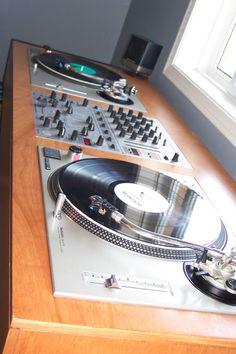 Click this image to show the full-size version. Vinyl Storage, Record Storage, Dj Equipment For Sale, Audio Equipment, Turntable Setup, Dj Stand, Dj Table, Dj Decks, Dj Setup