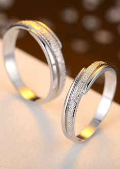 Matching Couple Promise Rings with Hammered Center + Polished Edges, Sterling Silver Wedding Ring Band with Grooves, His and Hers Jewelry Set @ iDream-Jewelry.Com