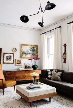 modern black lamp in eclectic living room. / sfgirlbybay