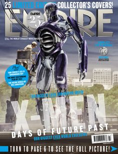 There will be twenty-five X-Men: Days of Future Past Empire magazine covers. Come see 5 new Empire covers: the 1973 Sentinel, Bolivar Trask (Peter Dinklage), Toad (Evan Jonigkeit), William Stryker (Josh Helman) and Havok (Lucas Till). X Men, Comic Book Characters, Marvel Characters, Comic Books, Days Of Future Past, Dc Movies, Marvel Movies, Comic Movies, Empire