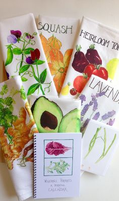 """Wedding Gift Set: Five Deluxe Tea Towels, One Perpetual Calendar, and One Wedding """"Spring Union"""" Card."""