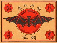 OLD VINTAGE MATCHBOX LABEL - BAT BRAND - CHINESE
