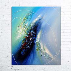 Windaria - tableau abstrait contemporain peinture à l'huile en relief bleu blanc…