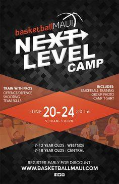 Basketball flyer for kids sports camp.  Designed by www.BrandAndBrush.com. #graphicdesign #event