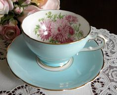The Pink Rose Cottage - Vintage Staffordshire Pink Chrysanthemum with Blue Teacup and Saucer