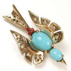 Trifari Sterling 'Alfred Philippe' Turquoise and Rubies Swooping Bird Pin