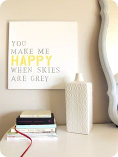 Or use up all the letter stickers you may have!    DIY: Buy stencils and canvas at Walmart, and use paint colors you already have in your home. Score!