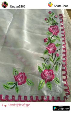 Embroidery Suits Punjabi, Embroidery On Kurtis, Hand Embroidery Dress, Kurti Embroidery Design, Embroidery Saree, Flower Embroidery Designs, Embroidered Clothes, Applique Designs, Machine Embroidery Designs