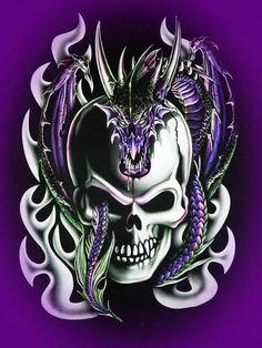 Skull and Dragon Skull Artwork, Dragon Artwork, Skull Tattoos, Body Art Tattoos, Badass Skulls, Totenkopf Tattoos, Skull Pictures, Skull Wallpaper, Skull Design