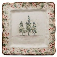 Classic Winter / Christmas Square Serving Plate Italy & Brighten your Christmas or any Holiday gathering with with our ...