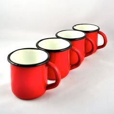 vintage Cherry Red Enamelware mugs set of 4