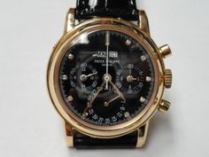 273858d4676 A great classic Pink Gold Patek Philippe Perpetual calendar chronograph  black diamond dial 3970R.