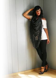 Charcoal Triangle Neckscarf by NonasNote by NonasNote on Etsy, $19.00