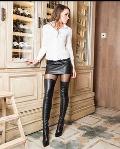 Thigh High Boots, High Heel Boots, Over The Knee Boots, Heeled Boots, Sexy Boots, Cool Boots, High Leather Boots, Leather Skirt, Leather Fashion