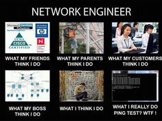 What my friends think I do? What my parents think I do? What my customers think I do? What my boss thinks I do? What I think I do? What I really do is a Ping Test? Computer Humor, Computer Science, Cartoon Network Adventure Time, Adventure Time Anime, Funny Images, Funny Photos, Engineering Quotes, Far Side Comics, Network Engineer