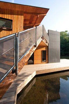 Renovated Modern Boathouse Of Natural Wood. Lake Muskoka, Ontario, Canada