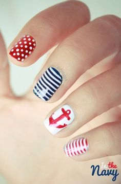 nautical nails Red white @ blue stripes, anchors, striping tape, free hand nail art