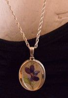 """Just updated sterling silver vintage oval pendant pressed flower 1.25"""" on 24""""fancy chain £5.35"""