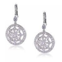 Bling Jewelry Vintage Style CZ Pave Circle Dangle Leverback Earrings