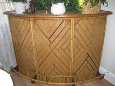 bamboo bar vintage tiki - Google Search Bamboo Bar, Vintage Tiki, Entryway Tables, Solid Wood, Tropical, Handmade Gifts, South Pacific, Etsy, Furniture