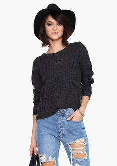 Anne Knit Sweater in Charcoal | Necessary Clothing