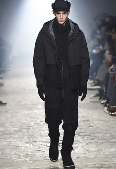 The latest White Mountaineering FW17 collection at Paris Fashion Week this weekend, featuring a strong emphasis on black.