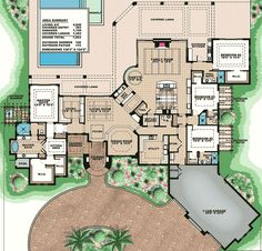 Opulent Mediterranean House Plan - 66348WE floor plan - Main Level