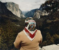 Paul Getty Museum, Roger Minick, Woman with Scarf at Inspiration Point, Yosemite National Park Chromogenic print, × cm Crater Lake National Park, Yellowstone National Park, Magritte, Grand Canyon, Great American Road Trip, Getty Museum, Contemporary Photography, Landscape Photography, Park Photography