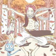 Natsu, Lucy and Happy.